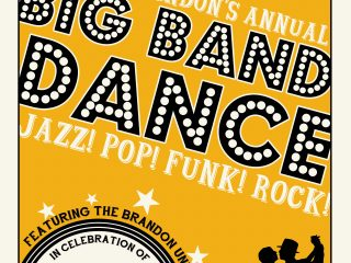Poster for the Big Band Dance features a silhouette of a couple dancing on a yellow background.