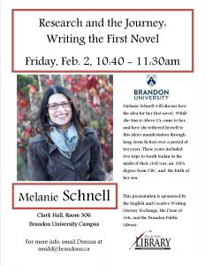 Novelist Melanie Schnell presents 'Writing the First Novel' event poster