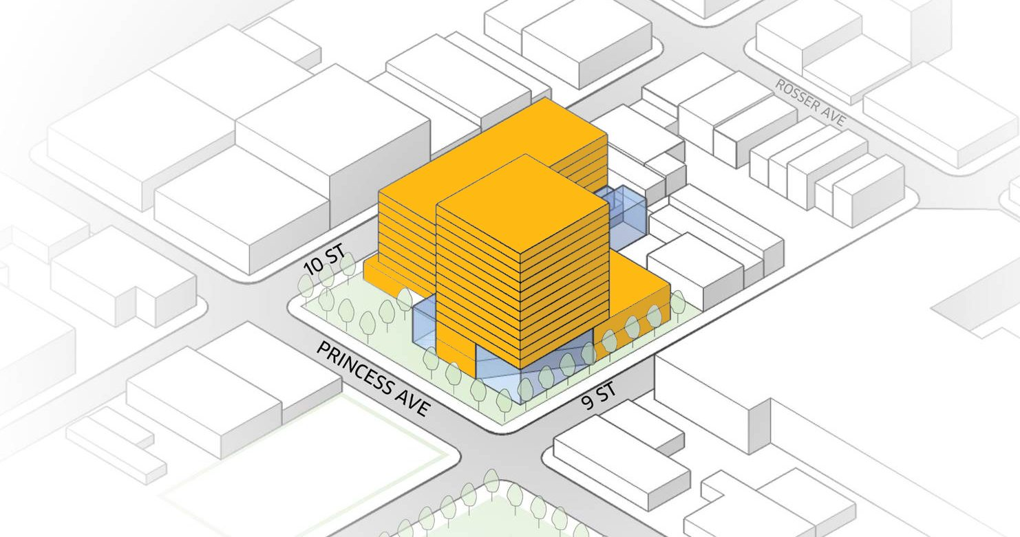 Image render of building possibilities for Brandon University's downtown location.
