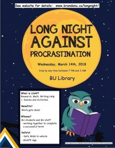 Long Night Against Procrastination Event Poster - March 14, 2018