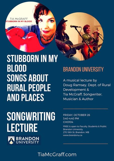Event poster features a photo of Tia McGraff wearing boxing gloves on the upper left and performing with another musician in the upper right. Both performers are playing guitars. The event title and details are below the photos.