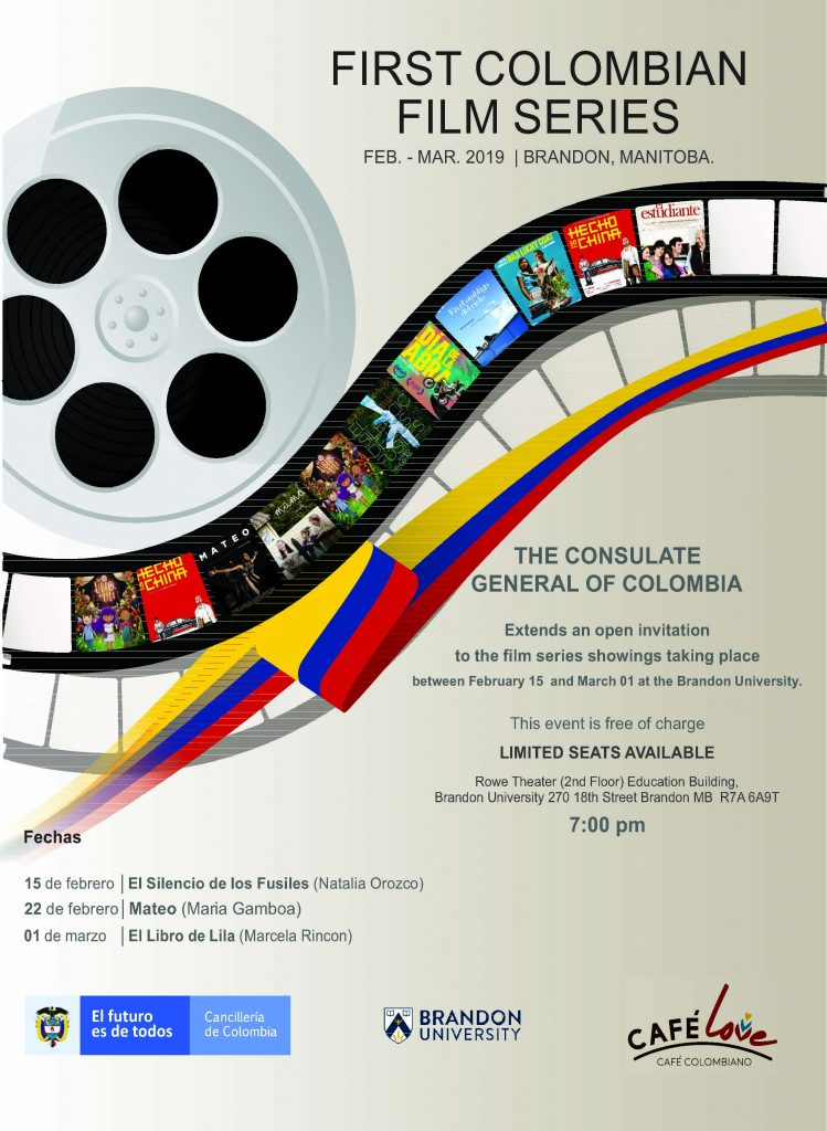 Poster for film series shows a reel with film below it.