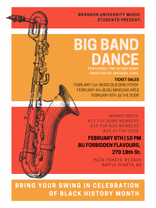 Poster for the Big Band Dance features a saxophone on a multi-hued orange background
