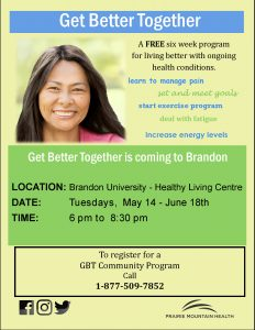 Poster for Get Better Together features the face of a smiling woman, with details about the event