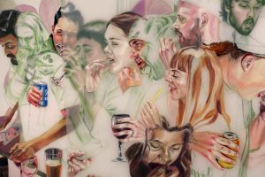 Artwork features images of people eating and drinking