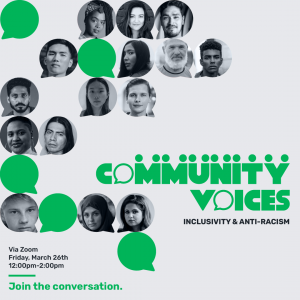Poster for Community Voices features headshots with speech bubbles. Poster shows time and date of March 26, 2021 from 12 p.m. to 2 p.m.
