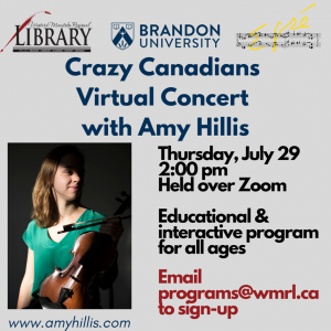 Poster for Crazy Canadians concert features picture of woman, with her face partly in shadows, holding a violin. The poster says the event is educational and interactive for all ages.